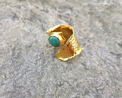 Ring with Turquoise Stone Gold Plated Brass Adjustable SR88