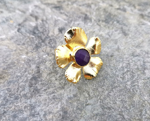 Flower Ring with Purple Stone Gold Plated Brass Adjustable SR89