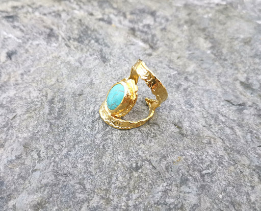 Textured  Ring with Turquoise Gold Plated Brass Adjustable SR90