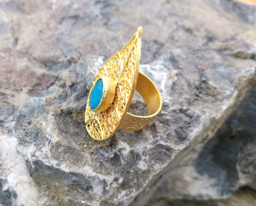 Eye Ring with Blue Gemstone Gold Plated Brass Adjustable SR92