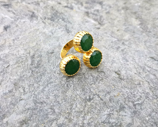 Ring with Three Green Gemstones Gold Plated Brass Adjustable SR93