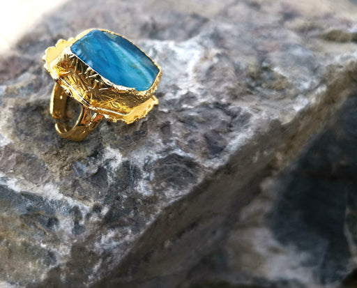 Ring with Blue Agate Gemstone Gold Plated Brass Adjustable SR95