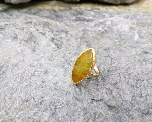 Ring with Goldenrod Agate Gemstone Gold Plated Brass Adjustable SR97
