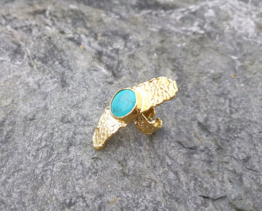Ring with Turquoise Gemstone Gold Plated Brass Adjustable SR98