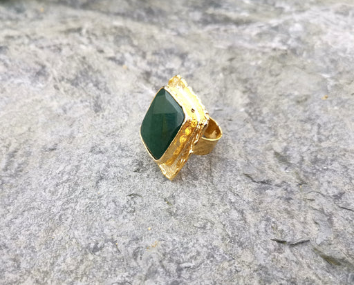 Ring with Dark Green Gemstone Gold Plated Brass Adjustable SR99