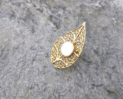 Eye Shape Ring with Real Pearl Gold Plated Brass Adjustable SR101