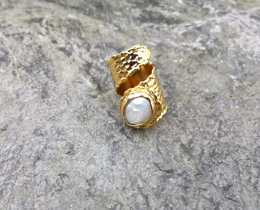 Ring with Real Pearl Gold Plated Brass Adjustable SR106