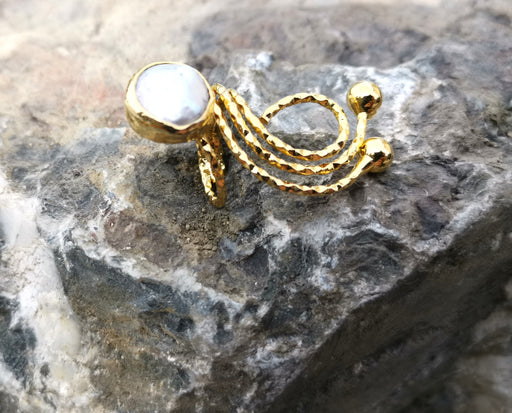 Ring with Real Pearl Gold Plated Brass Adjustable SR107