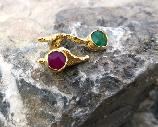 Ring with Colored Gemstones Gold Plated Brass Adjustable SR108