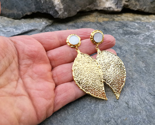 Textured Leaf Earrings with Real Pearls Gold Plated Brass  SR118