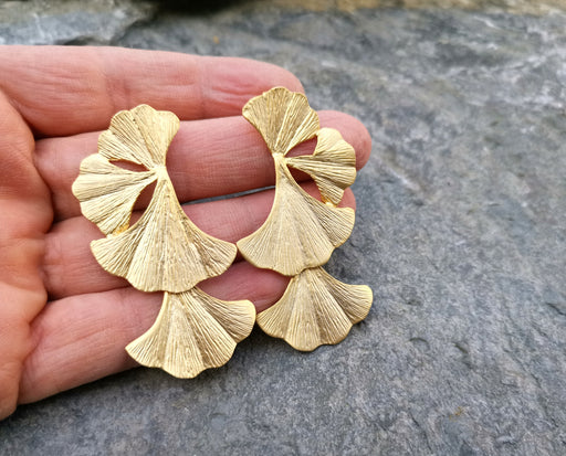 Leaf Earrings Gold Plated Brass  SR119