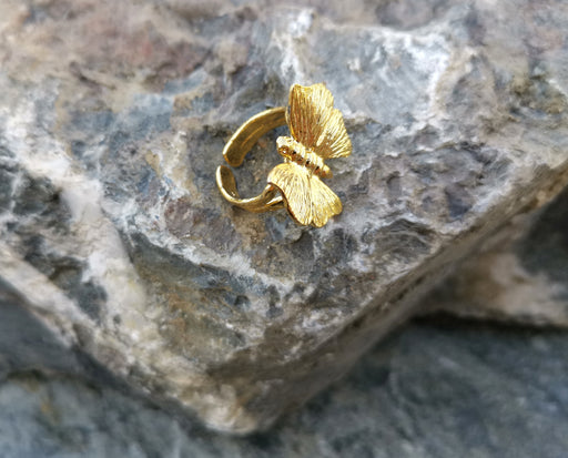Butterfly Ring Gold Plated Brass Adjustable SR128