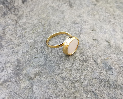 Ring with Real Pearl Gold Plated Brass Adjustable SR135