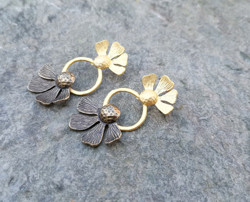 Flower Earrings Gold Plated Brass  SR141