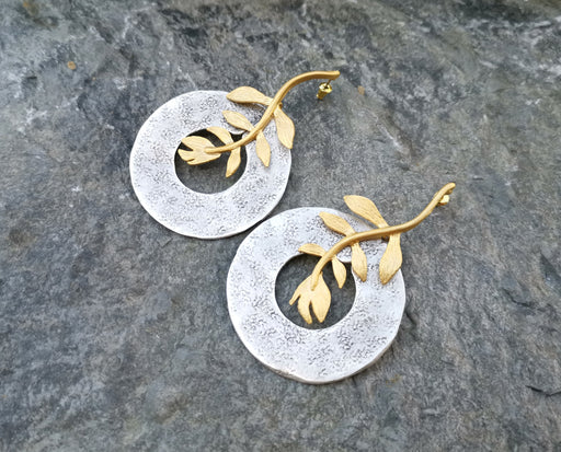 Earrings Gold and Antique Silver Plated Brass  SR154