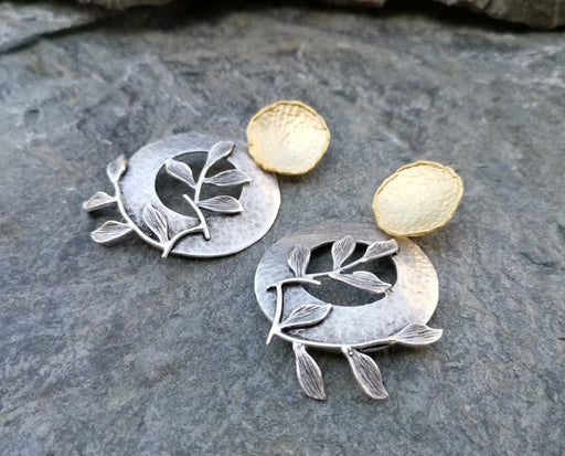 Earrings Gold and Antique Silver Plated Brass  SR155