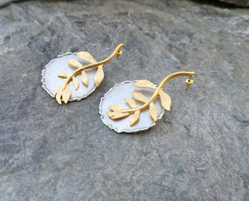 Earrings Gold and Antique Silver Plated Brass  SR156