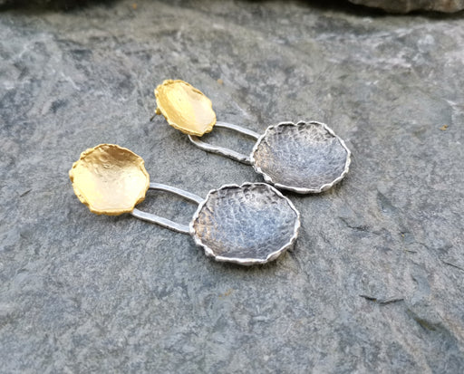 Earrings Gold and Antique Silver Plated Brass  SR158