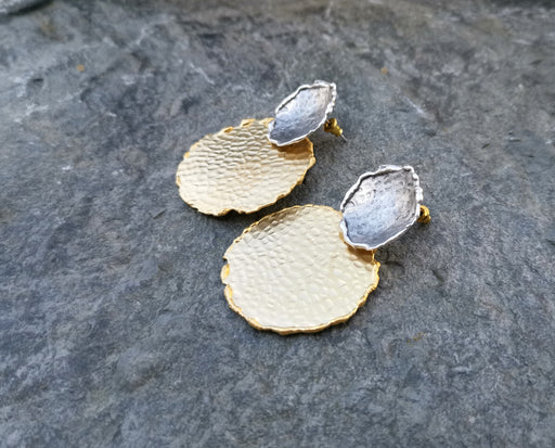 Earrings Gold and Antique Silver Plated Brass  SR159