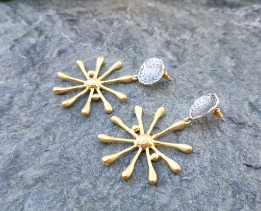 Earrings Gold and Antique Silver Plated Brass  SR161