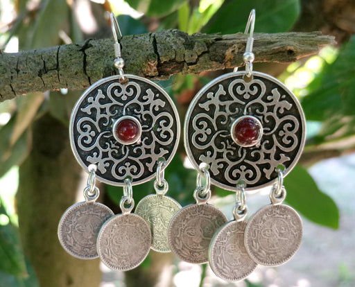 Earrings with Red Beads Antique Silver Plated Metal SR640