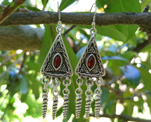 Earrings with Red Beads Antique Silver Plated Metal SR641