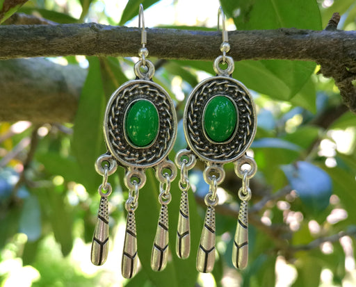 Earrings with Green Beads Antique Silver Plated Metal SR642