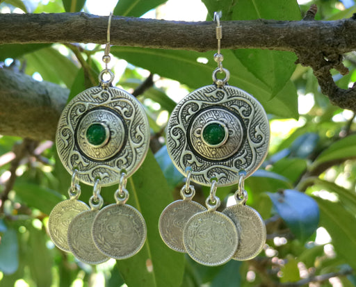 Earrings with Green Beads Antique Silver Plated Metal SR643