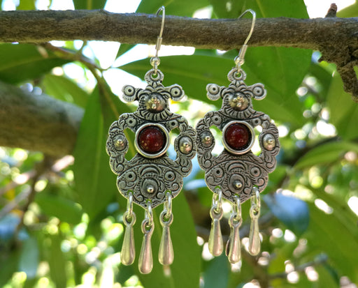 Earrings with Red Beads Antique Silver Plated Metal SR644