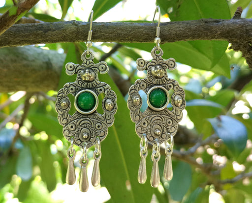 Earrings with Green Beads Antique Silver Plated Metal SR645