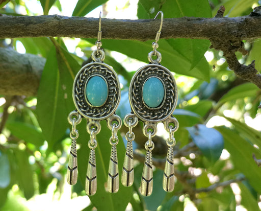 Earrings with Blue Beads Antique Silver Plated Metal SR646