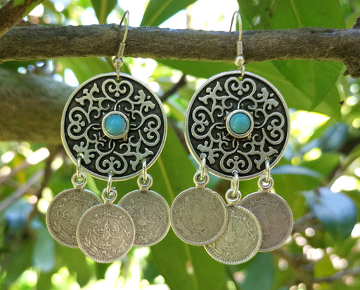 Earrings with Blue Beads Antique Silver Plated Metal SR647