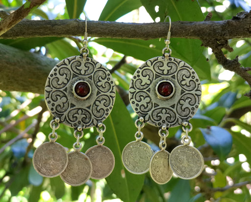 Earrings with Red Beads Antique Silver Plated Metal SR648