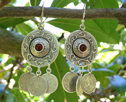 Earrings with Red Beads Antique Silver Plated Metal SR649