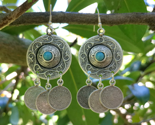 Earrings with Blue Beads Antique Silver Plated Metal SR650