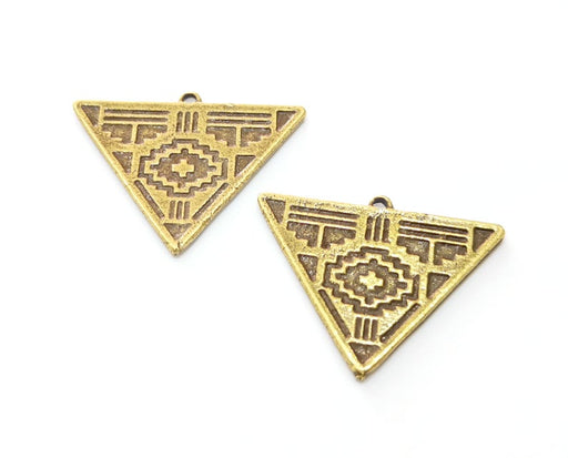 2 Triangle Charms Antique Bronze Plated Charms (33x25mm) G24501