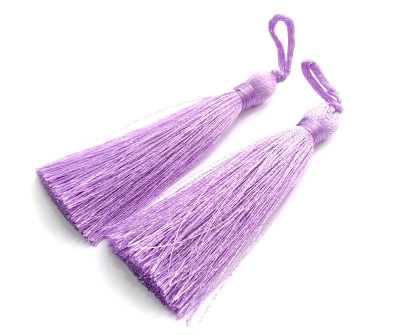 2 Lavander Thread Tassel  Lavander Purple  Tassel 2 pcs (78 mm - 3 inches)   ,   G13620