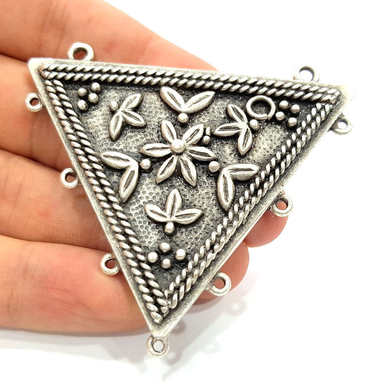 Silver Pendants Antique Silver Plated Medallion Pendants (66mm) Antique Silver Plated Metal  G6118