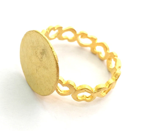 Adjustable Ring Blank, (15mm blank ) Gold Plated Brass G6151