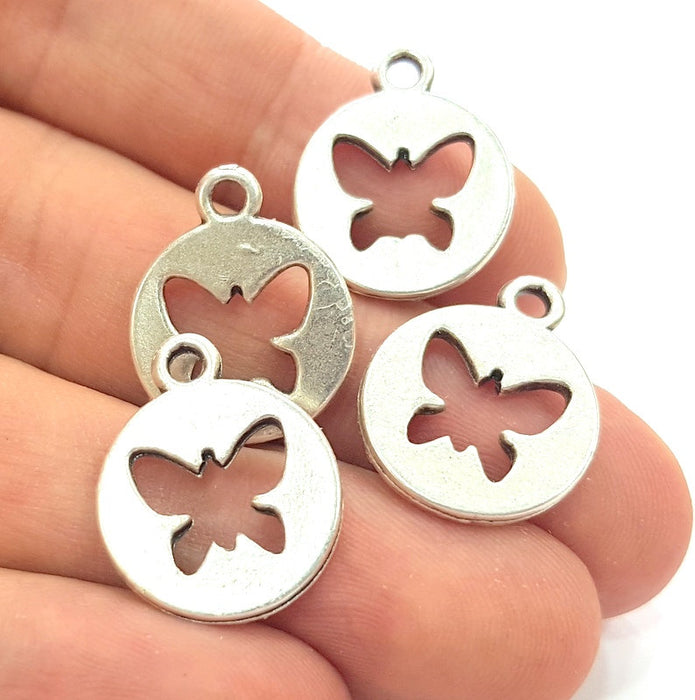 8 Butterfly Charms Antique Silver Plated Charms (17mm)  G6177