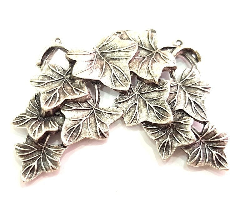 Antique Silver Plated Leaf Pendants (65x60mm) Antique Silver Plated Metal  G8632