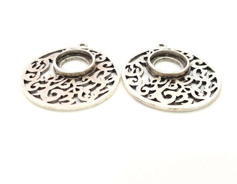 2 Pcs Antique Silver Plated Pendant Blanks (12mm Blank) Antique Silver Plated Metal  G6124
