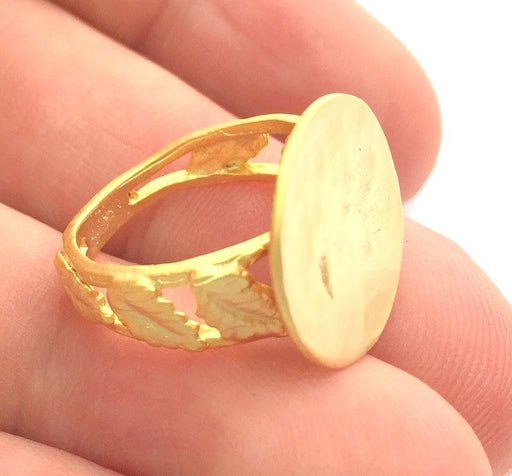 Adjustable Ring Blank, (15mm blank ) Gold Plated Brass G6148