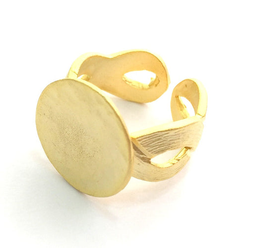 Adjustable Ring Blank, (15mm blank ) Gold Plated Brass G6155