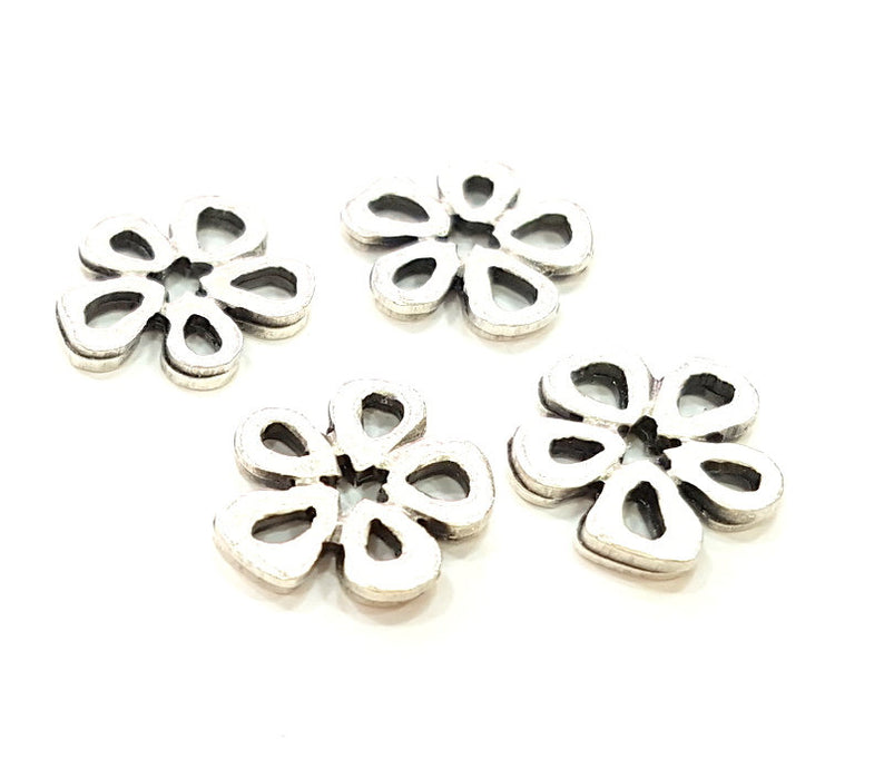 60 Silver Charms Antique Silver Plated Flower Charms   (15mm) Antique Silver Plated Metal  G6780