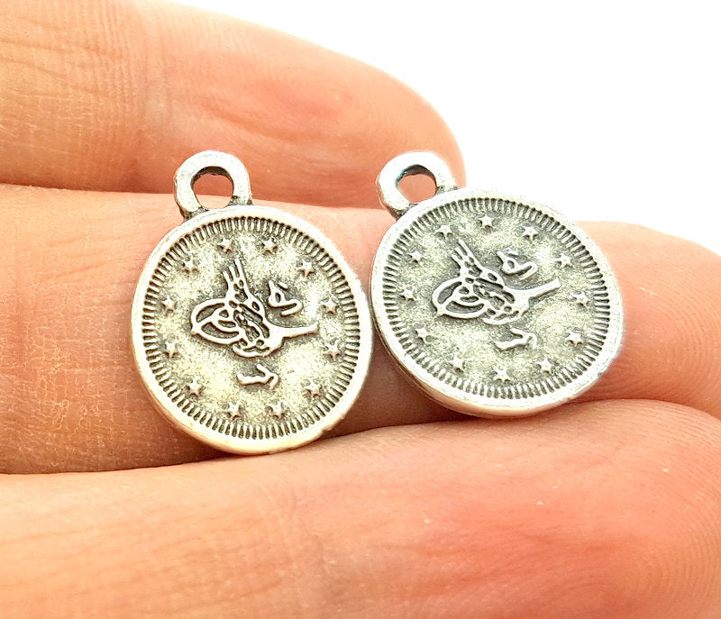 10 Silver Charms Connector Antique Silver Plated Ottoman Signature Charms 10 Pcs (14mm) G6949