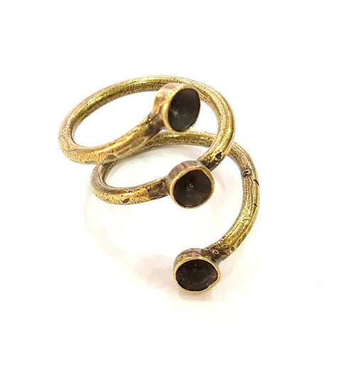 Antique Bronze Ring Blank Base Bezel Settings Cabochon Base Mountings Adjustable  (5mm blank ) Antique Bronze Plated Brass G7258