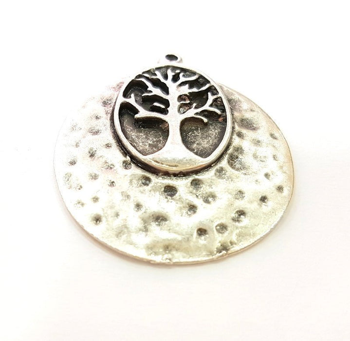 20 Pcs Silver Pendant Tree Pendant Antique Silver Plated Hammered Pendant (33mm) G7273