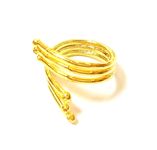 Gold Ring Blank Bezel Settings Cabochon Base Mountings Adjustable Ring 24K Gold Plated Brass ( 2mm blank ) G7411