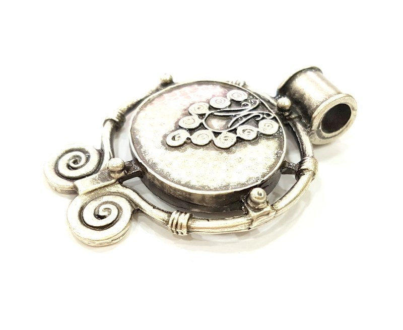 Tribal Pendants Ethnic Pendant   (54x40mm) Antique Silver Plated G6681